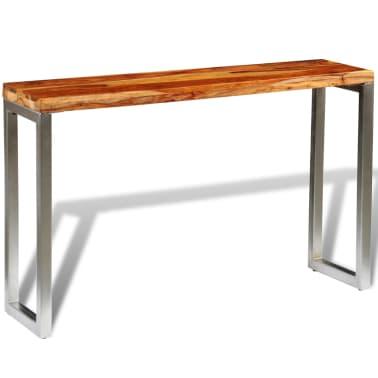 vidaXL Masă consolă din lemn masiv de sheesham cu picioare din oțel[3/7]