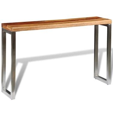 vidaXL Masă consolă din lemn masiv de sheesham cu picioare din oțel[4/7]