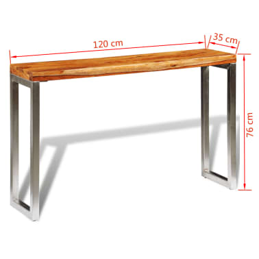 vidaXL Masă consolă din lemn masiv de sheesham cu picioare din oțel[7/7]