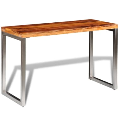 vidaXL Masă de bucătărie lemn masiv sheesham birou cu picioare de oțel[2/7]