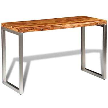 vidaXL Masă de bucătărie lemn masiv sheesham birou cu picioare de oțel[3/7]