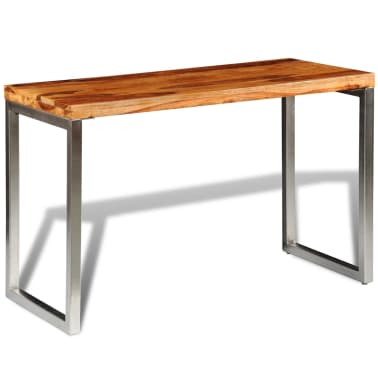 vidaXL Masă de bucătărie lemn masiv sheesham birou cu picioare de oțel[4/7]