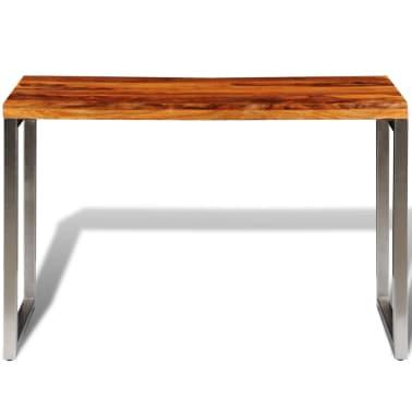 vidaXL Masă de bucătărie lemn masiv sheesham birou cu picioare de oțel[5/7]