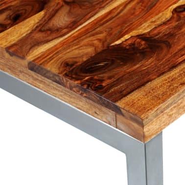 vidaXL Masă de bucătărie lemn masiv sheesham birou cu picioare de oțel[6/7]