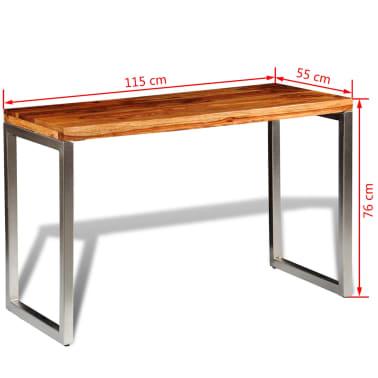vidaXL Masă de bucătărie lemn masiv sheesham birou cu picioare de oțel[7/7]