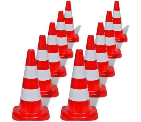 Conos de tráfico reflectantes rojos y blancos 50cm (10 unidades)[1/5]