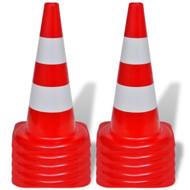 Conos de tráfico reflectantes rojos y blancos 50cm (10 unidades)[2/5]