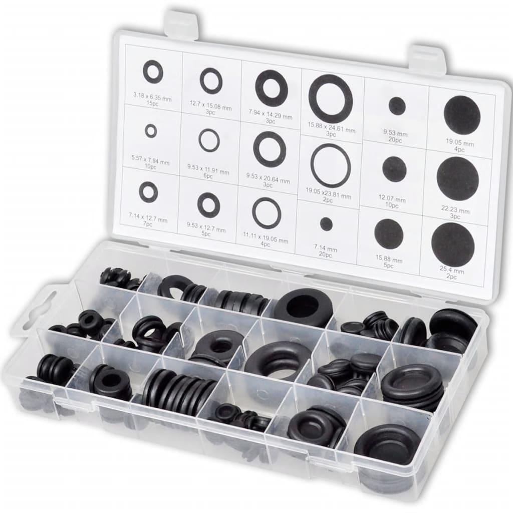 Afbeelding van vidaXL Set met rubberen dichtingsringen afsluitringen en doppen 125 st