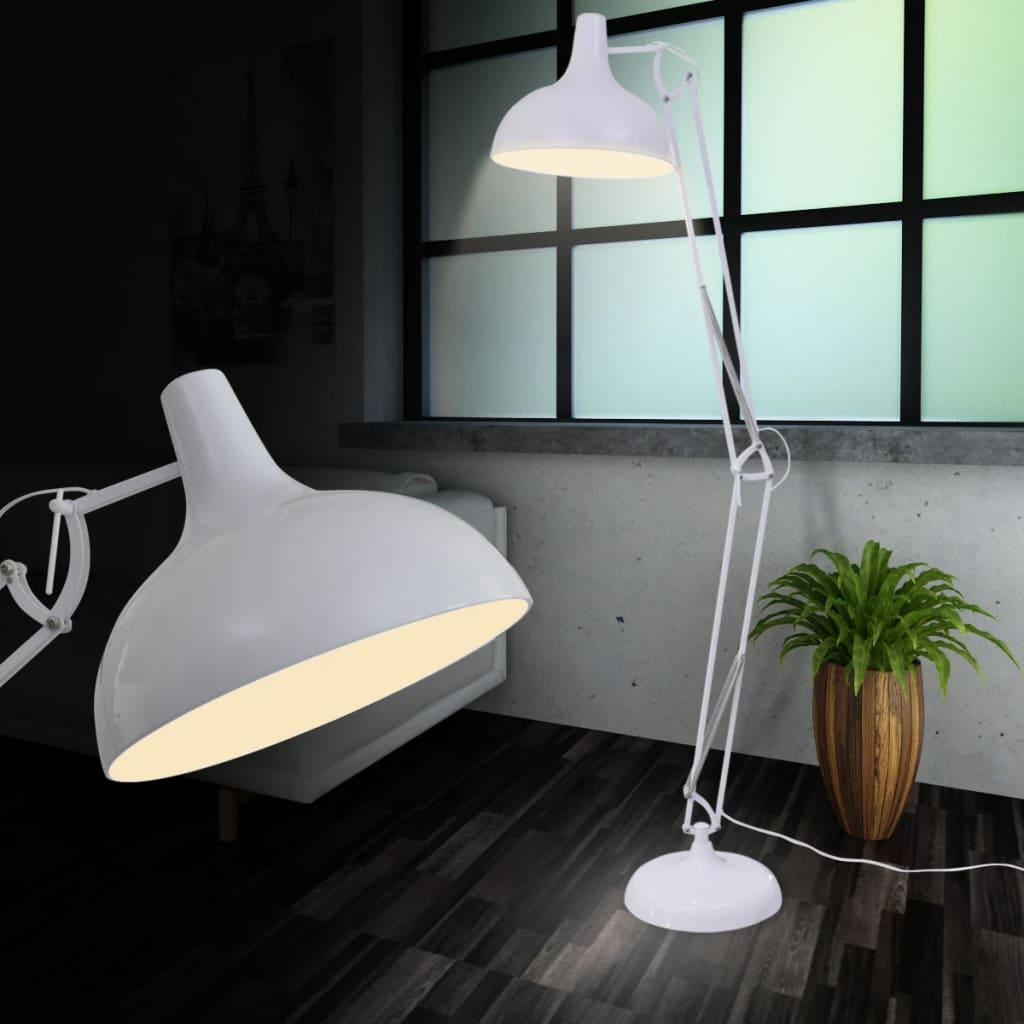 Nastavitelná stojací lampa bílá ve stylu Anglepoise