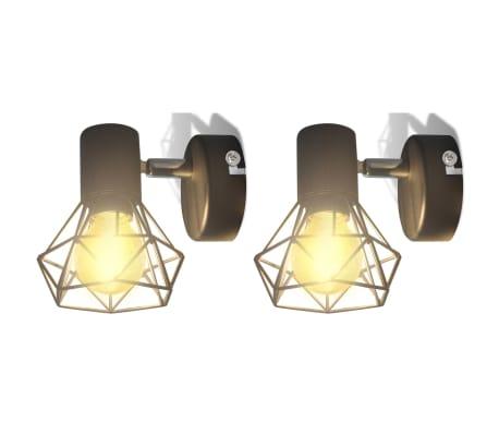2 Vägglampor i industri-design med LED-glödlampor svart[1/13]