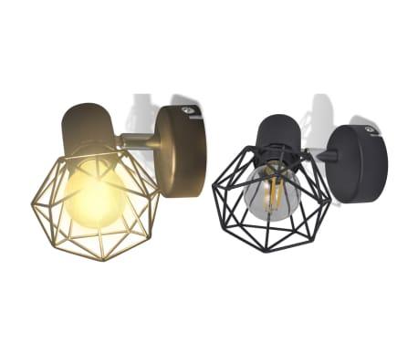 2 Vägglampor i industri-design med LED-glödlampor svart[2/13]