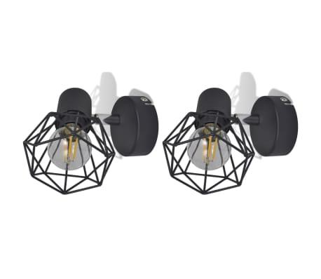 2 Vägglampor i industri-design med LED-glödlampor svart[3/13]