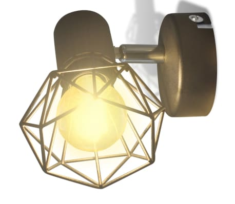 2 Vägglampor i industri-design med LED-glödlampor svart[5/13]