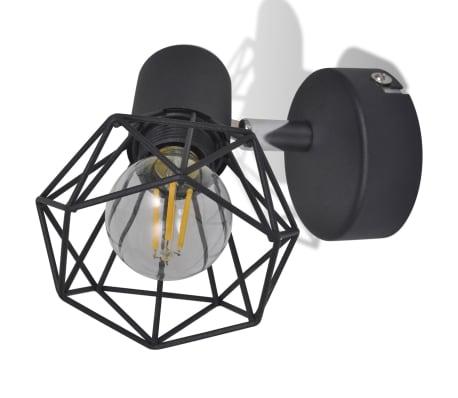2 Vägglampor i industri-design med LED-glödlampor svart[6/13]