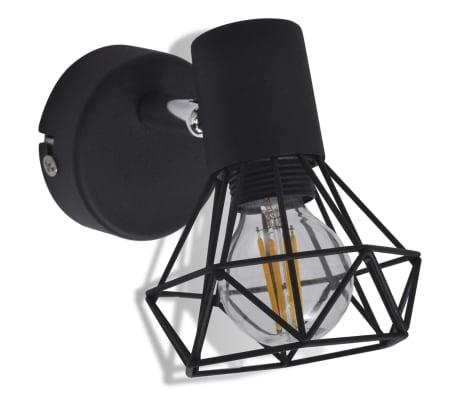 2 Vägglampor i industri-design med LED-glödlampor svart[7/13]
