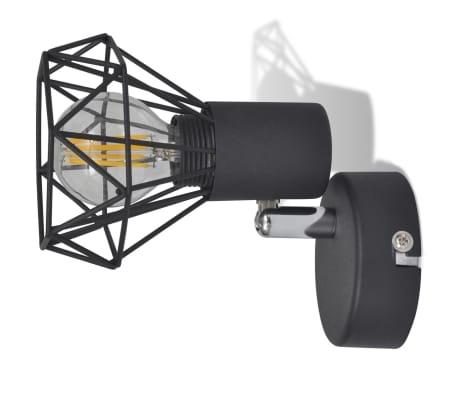 Sienas lampas, 2 gab., LED spuldzes ģeometriskos ietvaros, melnas[8/13]