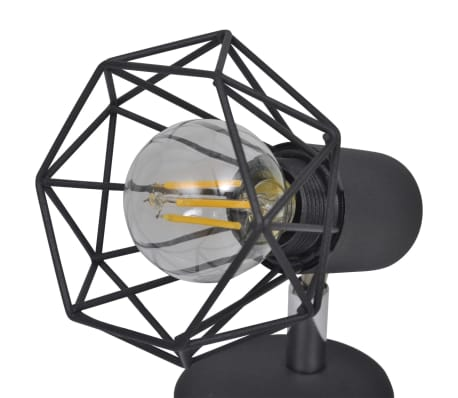 2 Vägglampor i industri-design med LED-glödlampor svart[10/13]