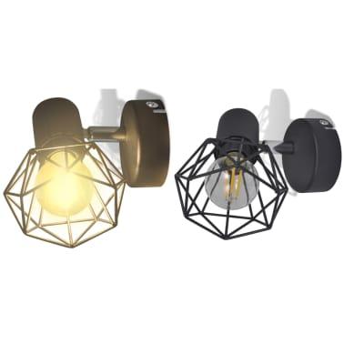 Sienas lampas, 2 gab., LED spuldzes ģeometriskos ietvaros, melnas[2/13]