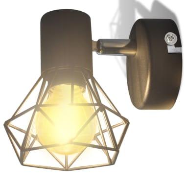 Sienas lampas, 2 gab., LED spuldzes ģeometriskos ietvaros, melnas[5/13]
