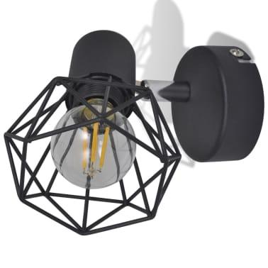 Sienas lampas, 2 gab., LED spuldzes ģeometriskos ietvaros, melnas[6/13]