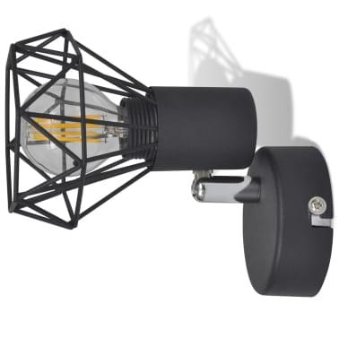 2 Vägglampor i industri-design med LED-glödlampor svart[8/13]