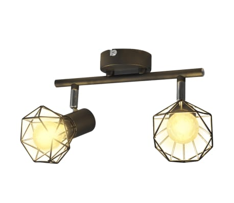 Faretto stile industriale nero con 2 lampadine ad incandescenza a LED[1/8]