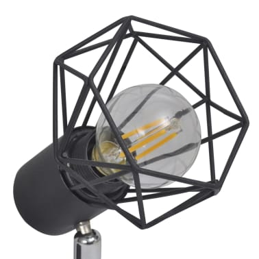 Faretto stile industriale nero con 2 lampadine ad incandescenza a LED[5/8]