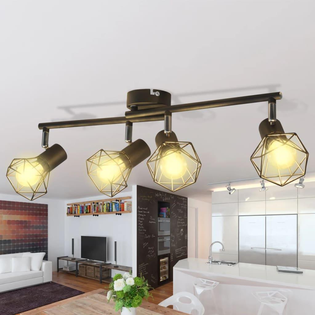 Černý industriální rám se 4 bodovými LED žárovkami, drátěná stínítka