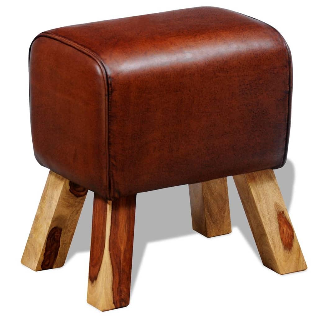 Stolička / lavička z pravé kůže hnědá 40 x 30 x 45 cm