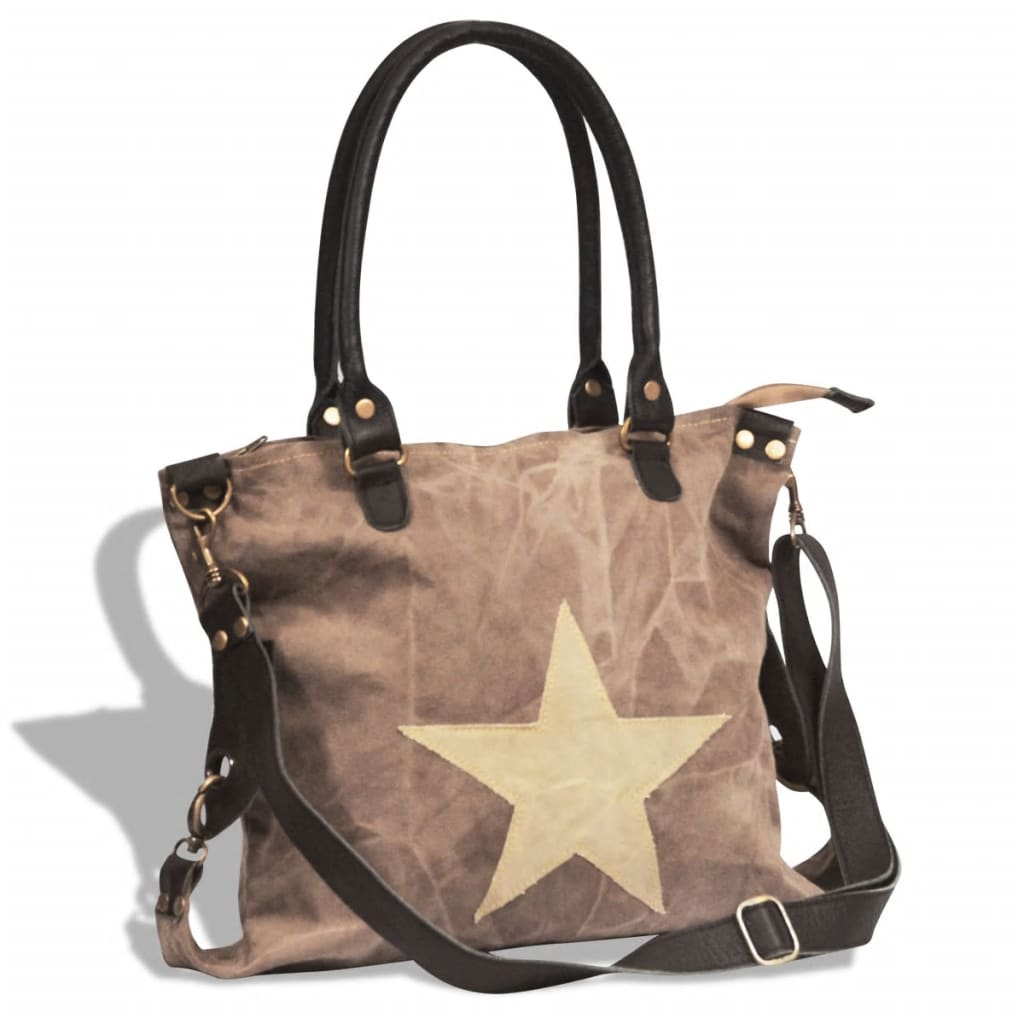 vidaXL Canvas Real Leather Shopper Bag with Star Brown