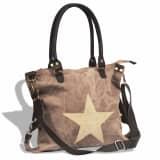Canvas Echtleder Damentasche Shopper Tasche mit Stern braun