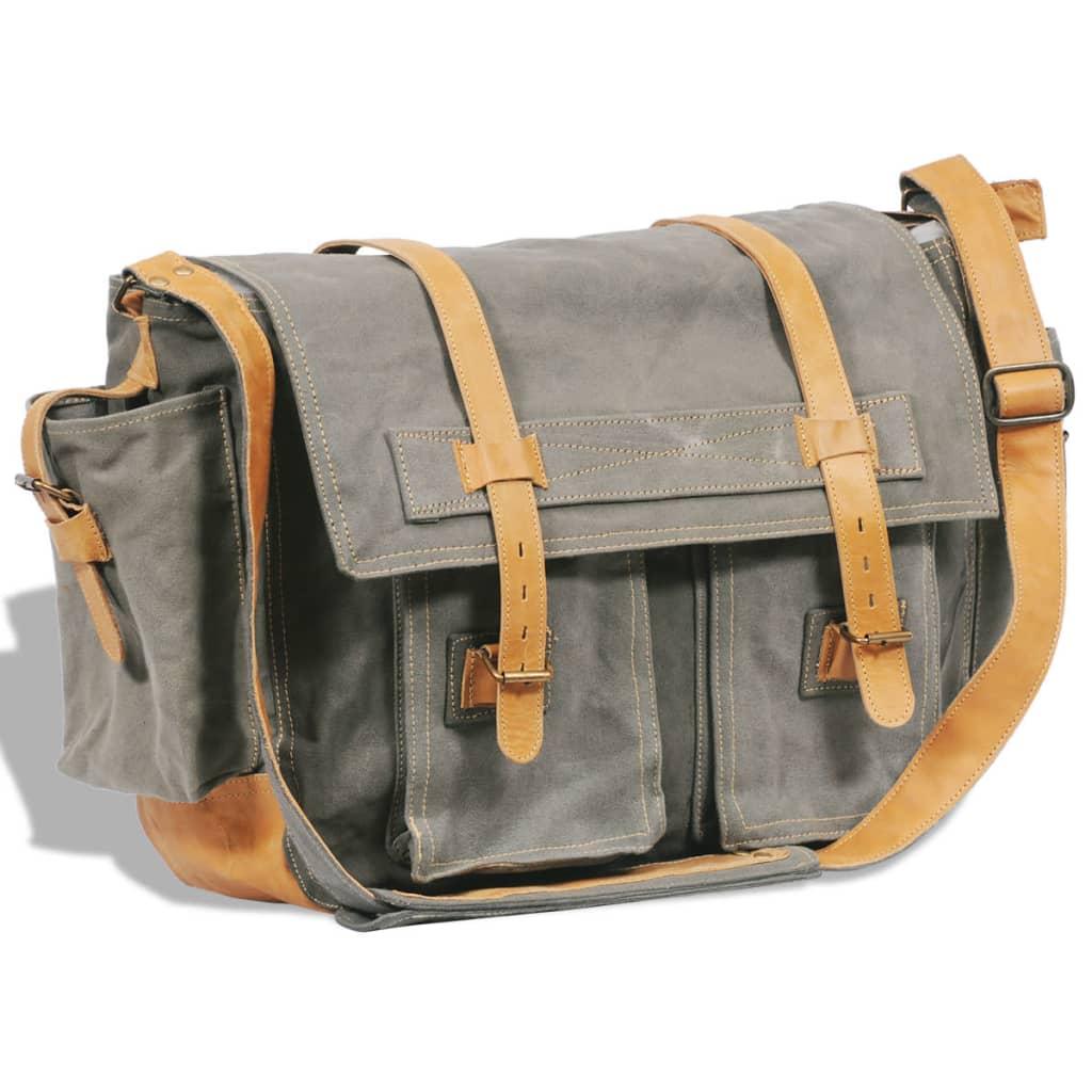 Taška přes rameno /messenger bag plátno a pravá kůže, olivově zelená