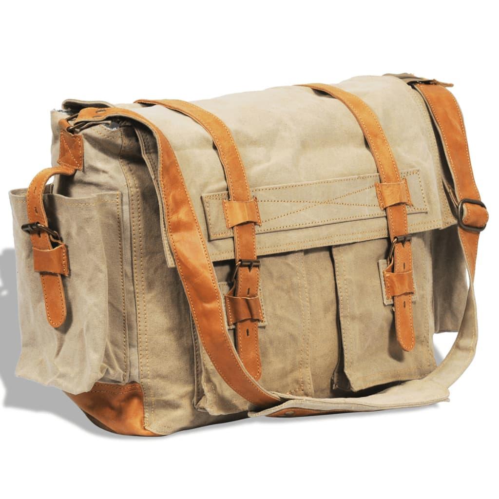 Taška přes rameno /messenger bag z plátna a pravé kůže, béžová