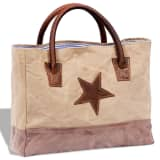 Canvas Real Leather Shopper Bag with Star Beige