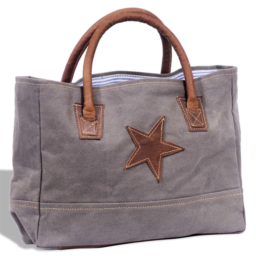 Geantă cumpărături din piele naturală și țesătură cu stea, Gri închis poza vidaxl.ro