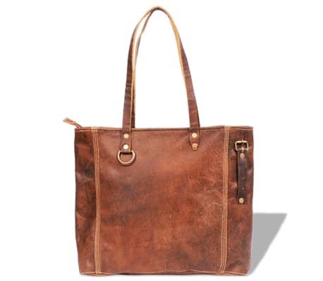 Skuldertaske i ægte læder, brun[2/5]