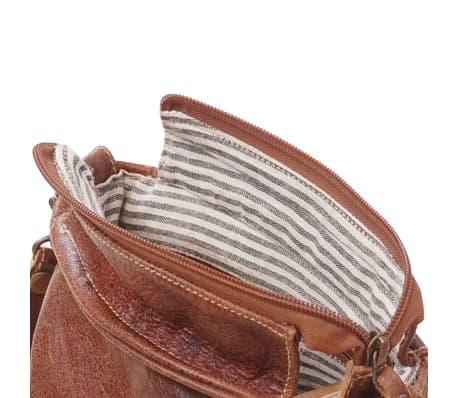 Handla Axelväska i äkta läder med lock brun  b6a8b98b735c1