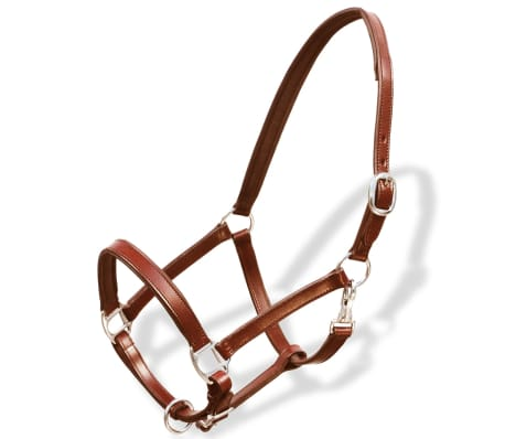 vidaXL Headcollar Stable Halter Real Leather Adjustable Brown Pony[1/3]