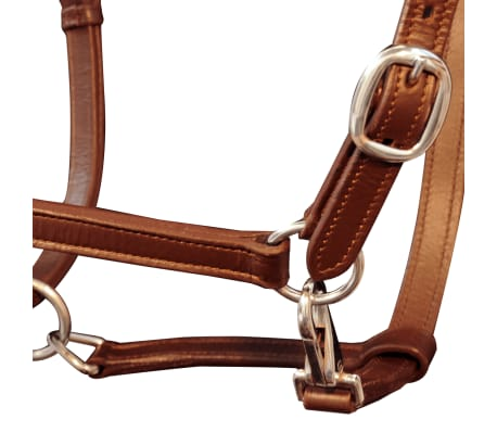 vidaXL Headcollar Stable Halter Real Leather Adjustable Brown Pony[2/3]