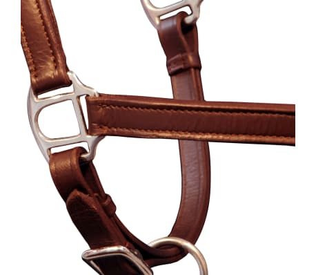 vidaXL Headcollar Stable Halter Real Leather Adjustable Brown Pony[3/3]
