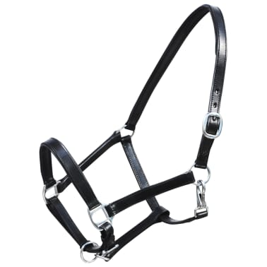 vidaXL Headcollar Stable Halter Real Leather Adjustable Brown Full[1/3]