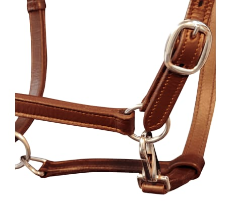 vidaXL Headcollar Stable Halter Real Leather Adjustable Brown Full[2/3]