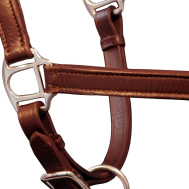 vidaXL Headcollar Stable Halter Real Leather Adjustable Brown Full[3/3]