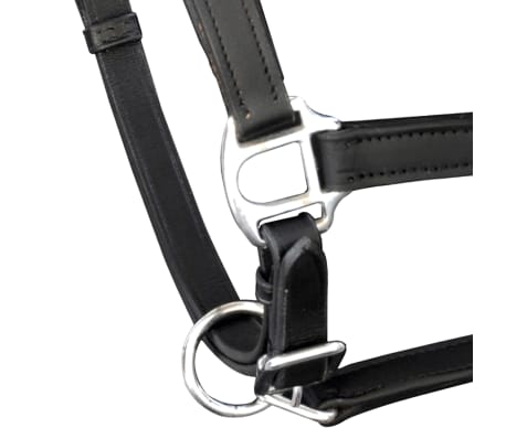 vidaXL Headcollar Stable Halter Real Leather Adjustable Black Pony[2/3]