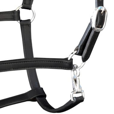 vidaXL Headcollar Stable Halter Real Leather Adjustable Black Pony[3/3]