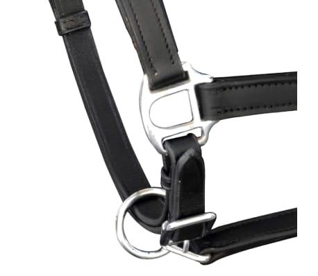 vidaXL Headcollar Stable Halter Real Leather Adjustable Black Cob[2/3]