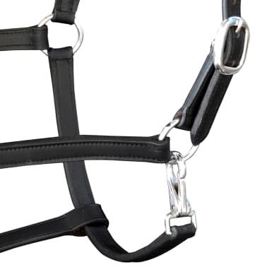 vidaXL Headcollar Stable Halter Real Leather Adjustable Black Cob[3/3]