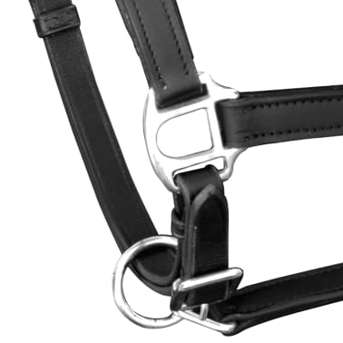 vidaXL Headcollar Stable Halter Real Leather Adjustable Black Full[2/3]