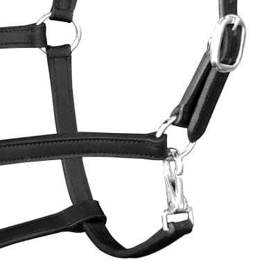vidaXL Headcollar Stable Halter Real Leather Adjustable Black Full[3/3]
