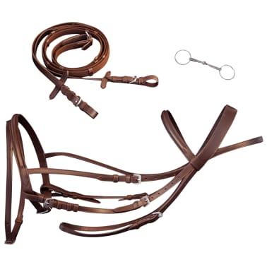 vidaXL Flash Bridle with Reins and Bit Leather Brown Pony[1/8]